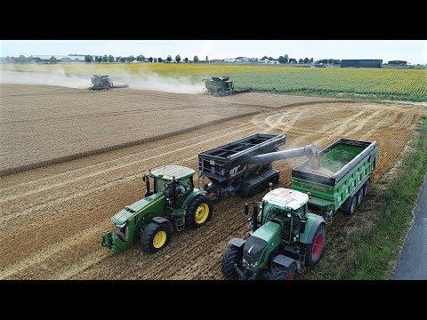 Big Moisson | Harvest 2017 | 2X John Deere S680i(12m35) JohnDeere 8360R & Perard Black à chenilles
