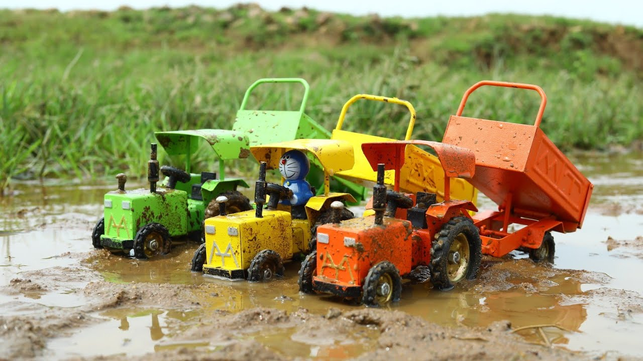 Mini Harvester Paddy Rice Cutting And Mt Tractor Rice Loading | Mini Tractor | CS Toy
