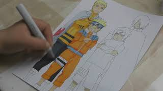 Speed Painting/Coloring - Sasuke and Naruto (Young and Adult)