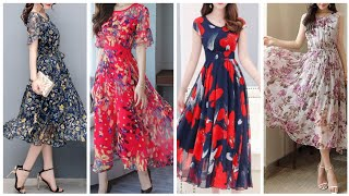 Simple and stylish Shiffon floral print dresses design