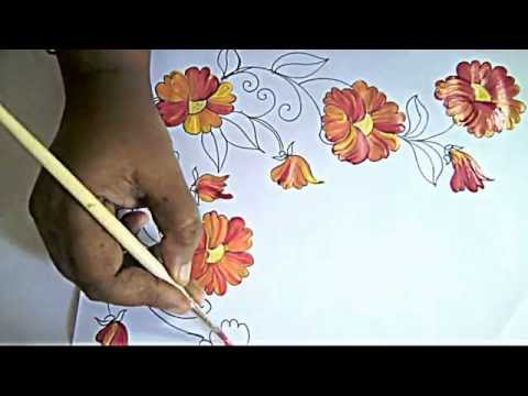 fabric painting bed sheet painting corner designs by premlata youtube - Painting Sheets