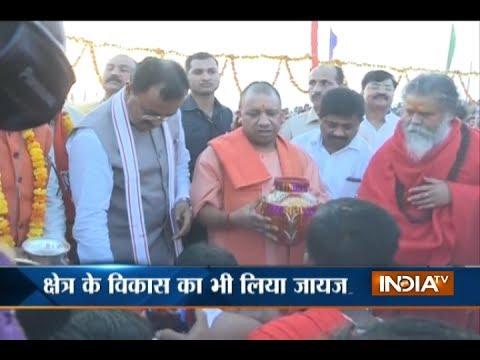 UP CM Yogi Adityanath on a two-day tour of Allahabad and took part in the 'Ganga arti'