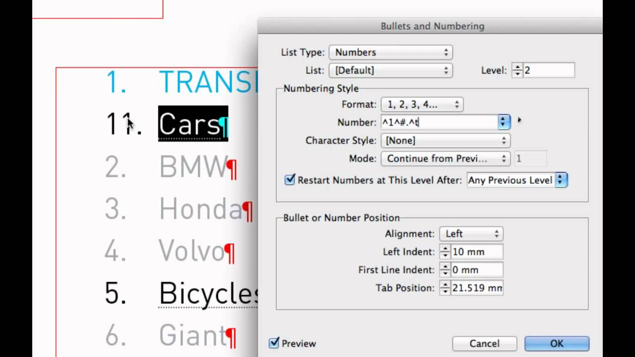how to create a numbered list level 2 in indesign cs6