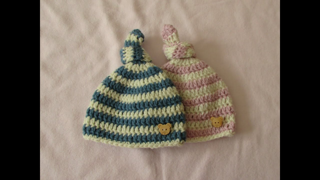 Crochet Baby Hat Tutorial Step By Step : VERY EASY crochet baby knot hat / beanie - crochet hat for ...
