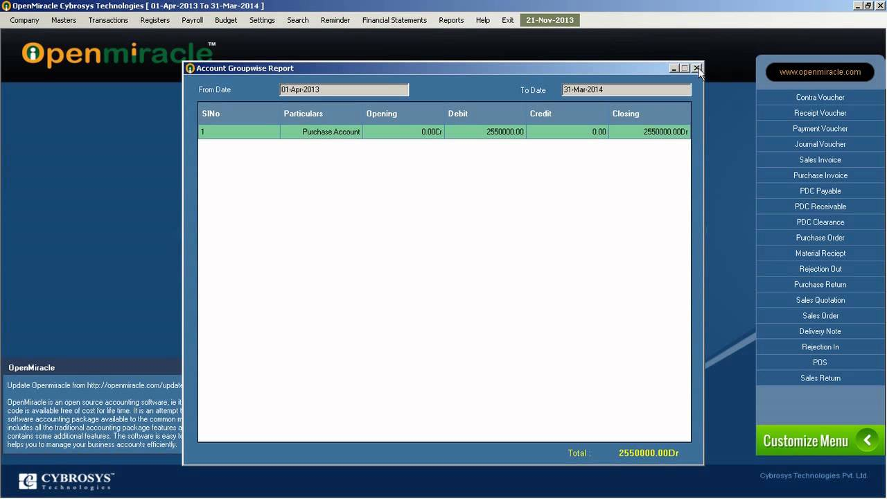 profit and loss openmiracle free open source accounting software