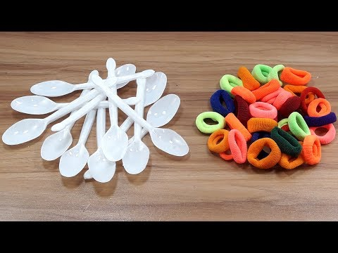 DIY Plastic spoon & Hair rubber bands reuse idea | DIY art and craft | DIY HOME DECO