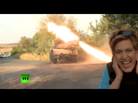Deadly Thunder: Exclusive close-up footage of GRAD missile launcher in action (Ukraine, 02.09.2014)