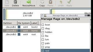 Linux, Gparted: Create software RAID 0 stripped / Tworzenie programowego RAID 0