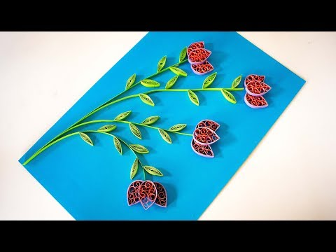 quilling Flower design card -  How to Make   Greeting Card - Quilling Flowers - TheCrafty Tube 💚