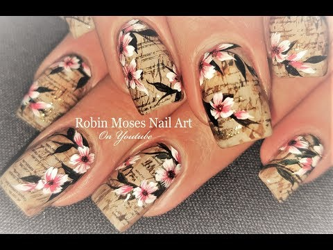 Faux Vintage Newsprint and Flowers Nails | Antique Nail Art Design Tutorial