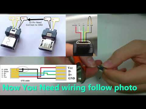 DIY USB OTG micro USB to mini USB for audio DAC - YouTube Otg Cable Wiring Diagram on