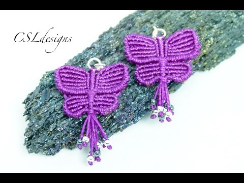 Macrame butterfly earrings