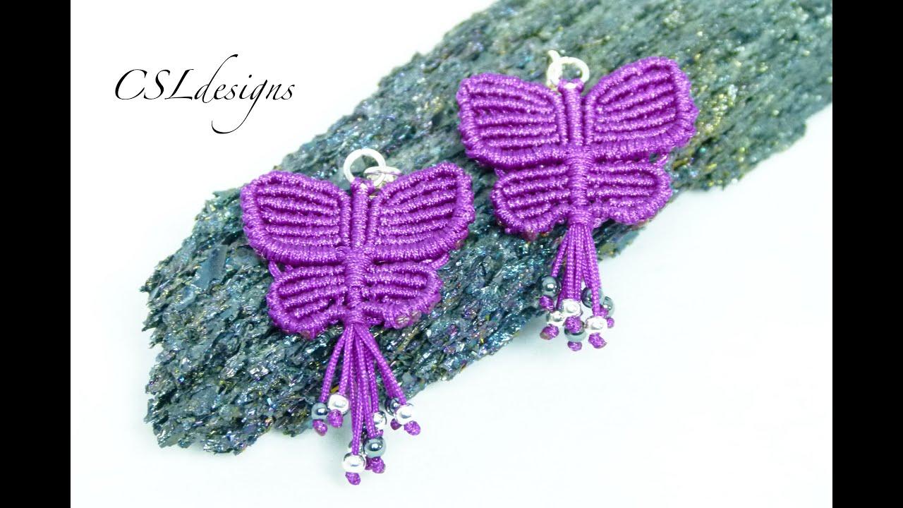 Macrame Butterfly Earrings Youtube