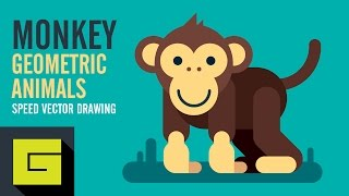 Speed Drawing, How to draw Funny Monkey, Adobe Illustrator