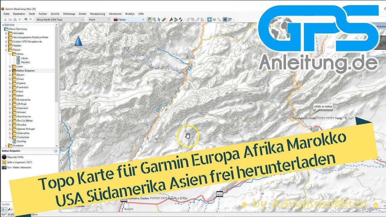 Topo Karte für Garmin Europa Afrika Marokko USA Südamerika Asien frei  herunterladen download
