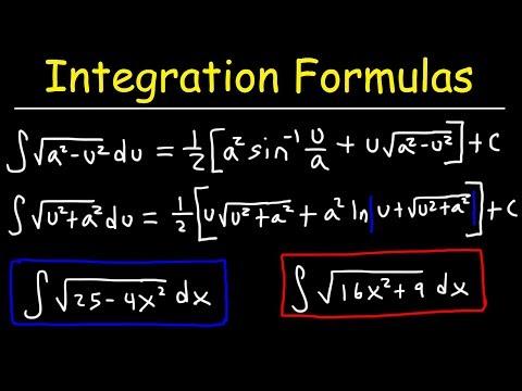 Integration Formulas For Trig Substitution