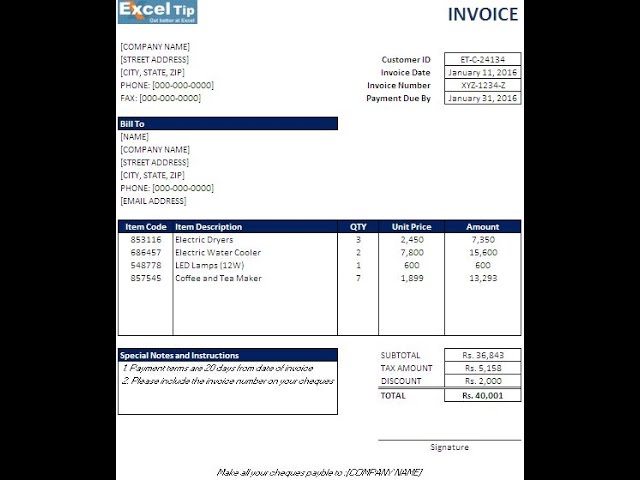 How To Create An Invoice Template In Excel Youtube