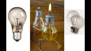 Lamparina feita de uma lampada queimada,usando óleo ou querosene como combustível.
