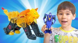 Игрушки Fuzion Max. Папа и дети играют в новые игрушки трансформеры для мальчиков.