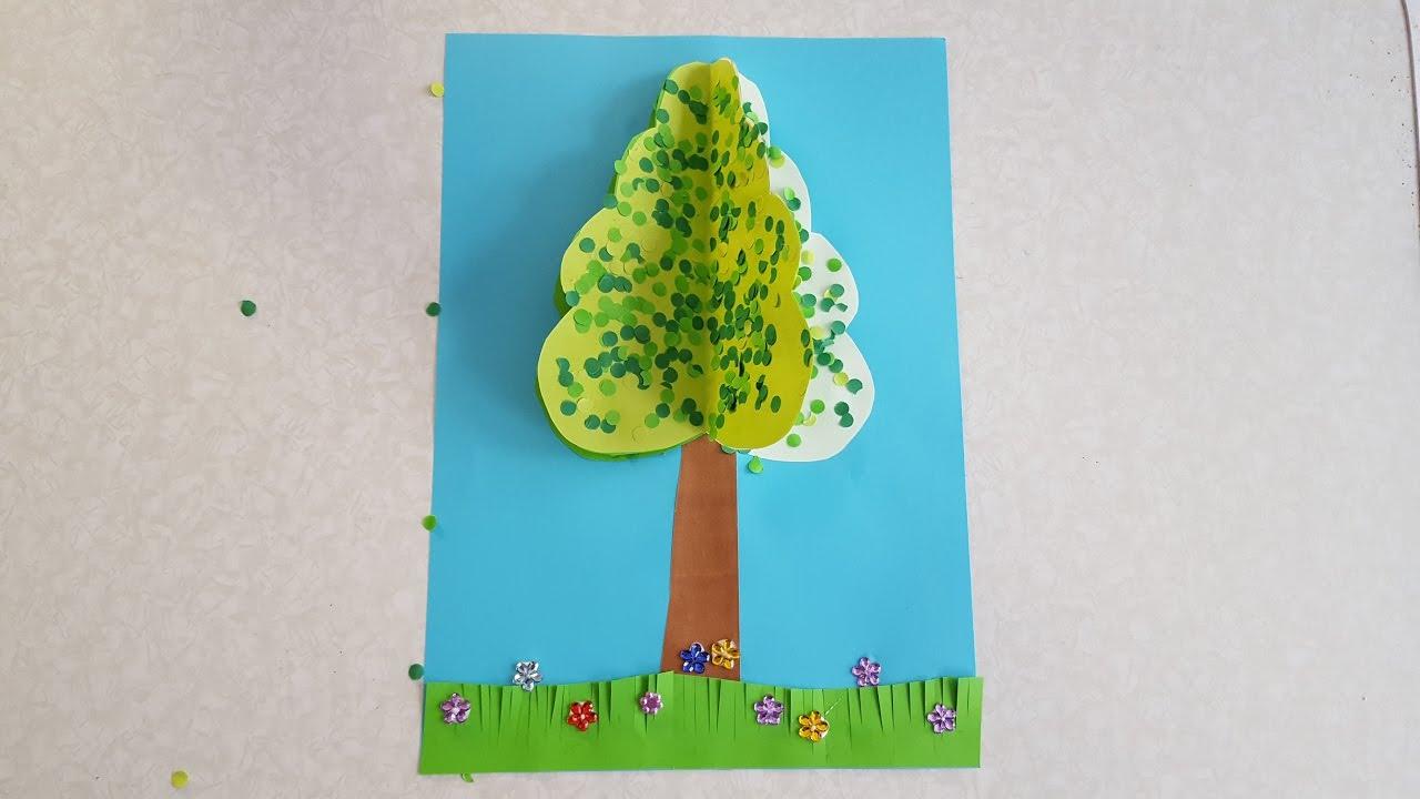 Der Baum Sommer Basteln Mit Buntpapier Youtube