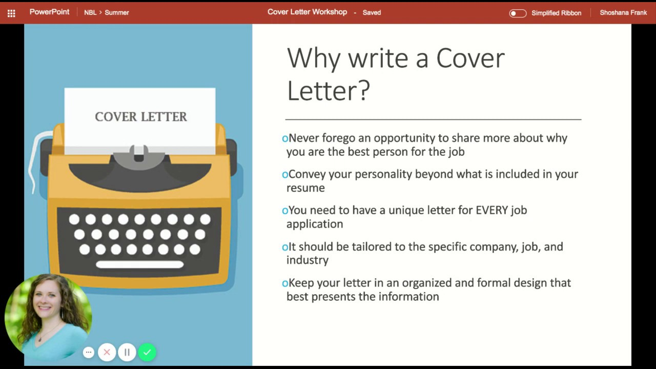Cover Letter Workshop Youtube
