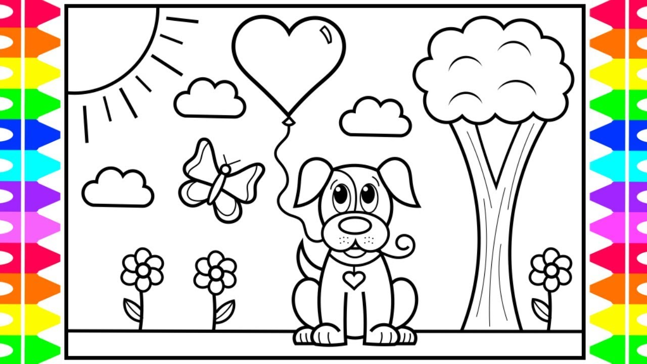 How to Draw a Cute Dog with a Heart Balloon 🐶💜💕Valentines ...