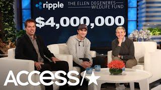 Ashton Kutcher Surprises Ellen With Huge Donation To Her Wildlife Fund | Access