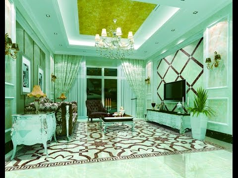 Light blue living room 3d rendering