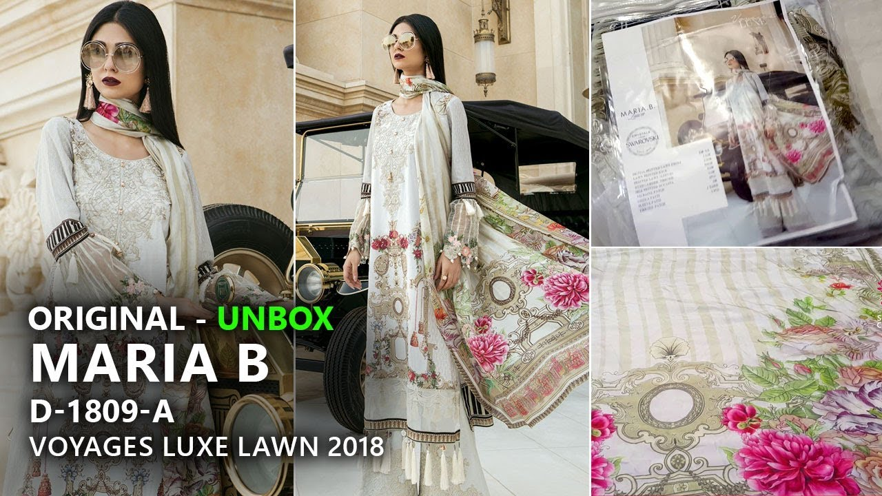 ef0b31ca40c Maria B Collection 2018 - Unbox 9A Voyages Luxe Lawn 2018 - Pakistani  Branded Dresses
