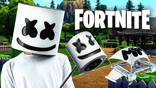 Fortnite MarshMellow Skin Gameplay (With Marshy Smasher PickAxe And Mellow Rider Glider)