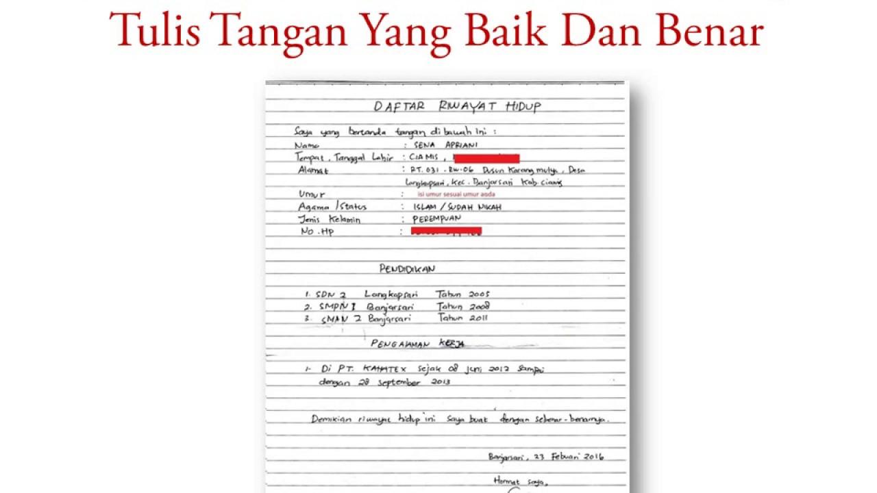 Cara Membuat Daftar Riwayat Hidup Tulis Tangan Yang Baik Dan Benar