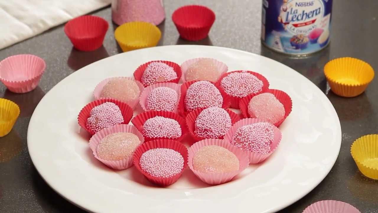 Trufas rosas con leche condensada la lechera recetas - Gelatina leche condensada ...
