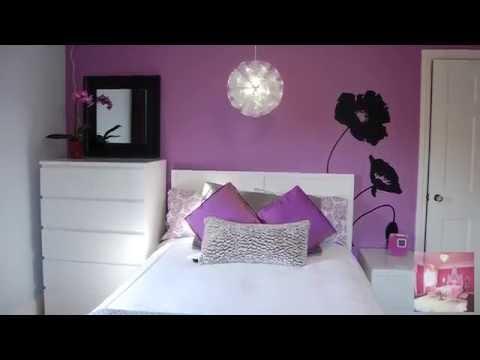Контраст белого и фиолетового цвета в интерьере