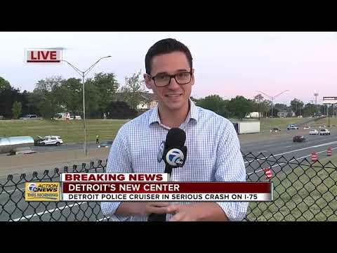 Detroit police cruiser in serious crash on I-75