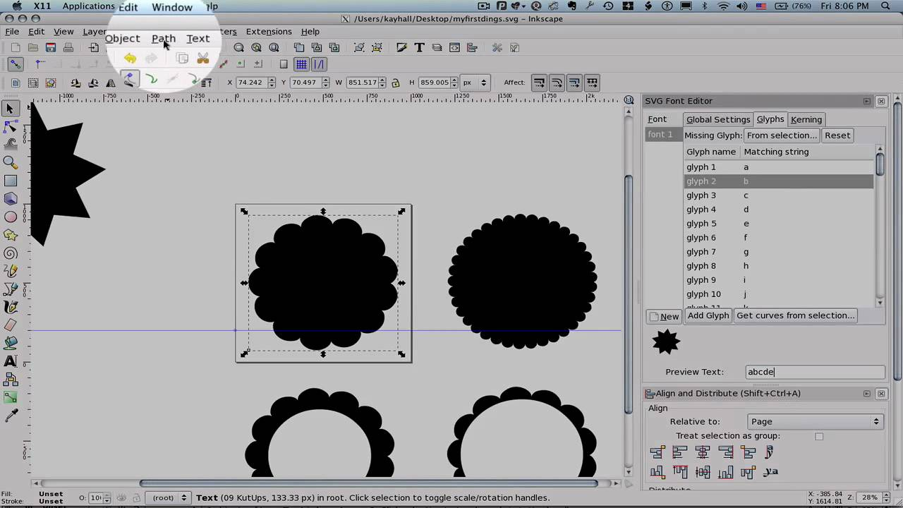 font per inkscape