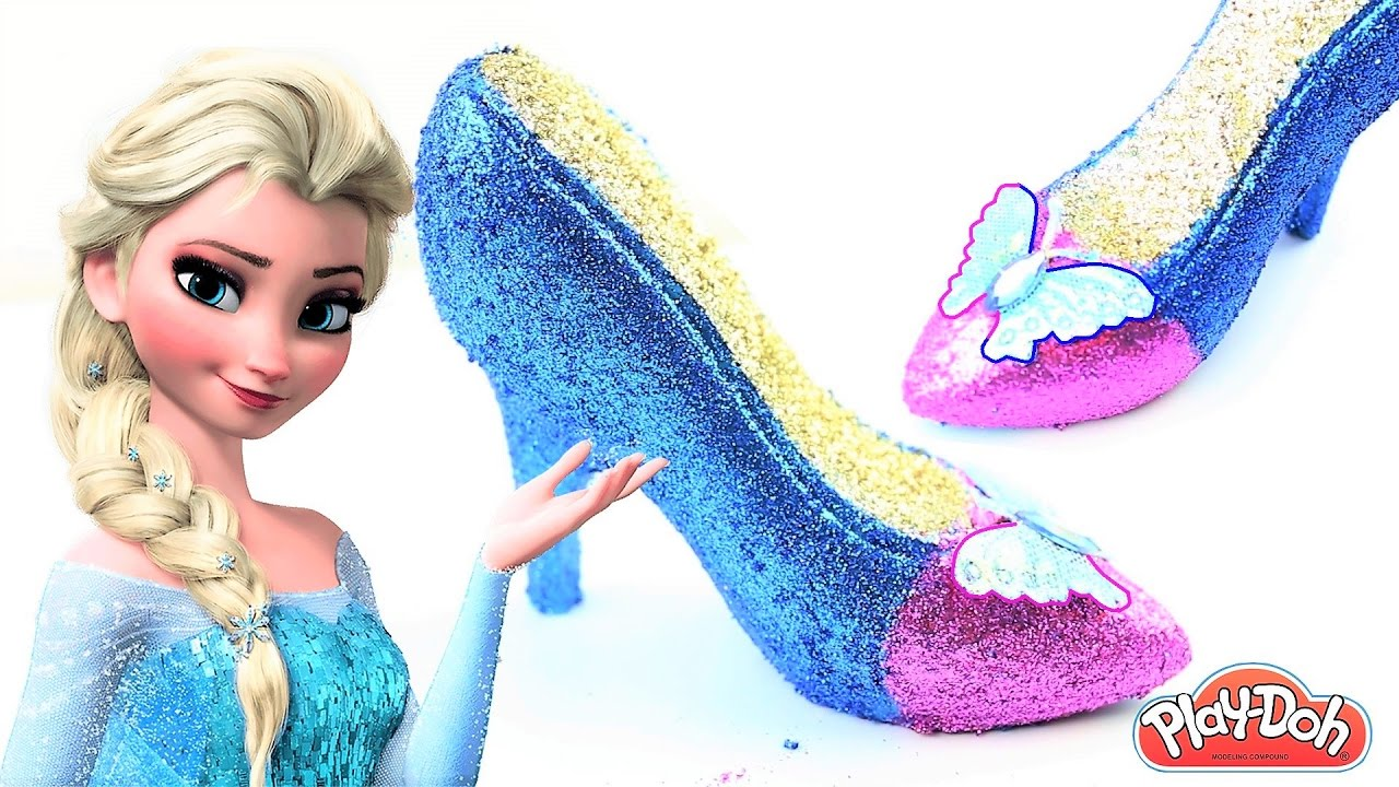 82472216490 DIY How To Make Play Doh Frozen Elsa Glitter High Heels Disney Princess  Sparkle Shoes Kids Junction