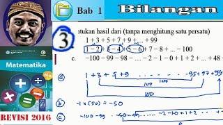 bilangan, matematika kelas 7 BSE  kurikulum 2013 revisi 2016 ,lat 1,2 no 3, menghitung metode gau
