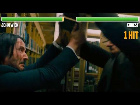 John Wick Vs. Ernest WITH HEALTHBARS | Library Fight | HD | John Wick 3: Parabellum