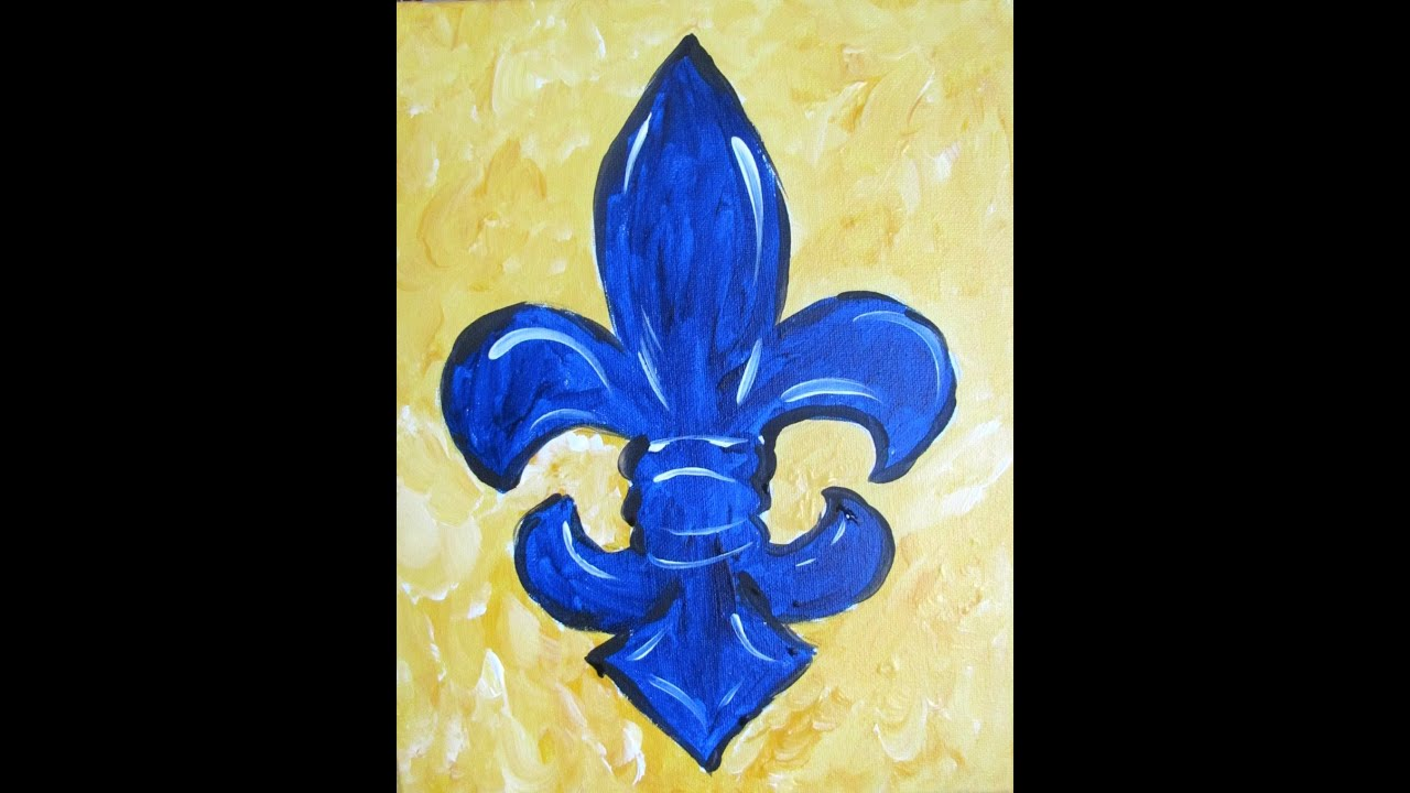 How To Paint A Fleur De Lis Beginner Acrylic Painting Tutorial Painting A Whimsical