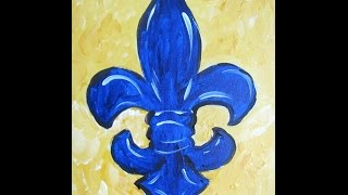 Beginner Acrylic painting tutorial: Painting a whimsical Fleur De Lis and Cure Brain Cancer