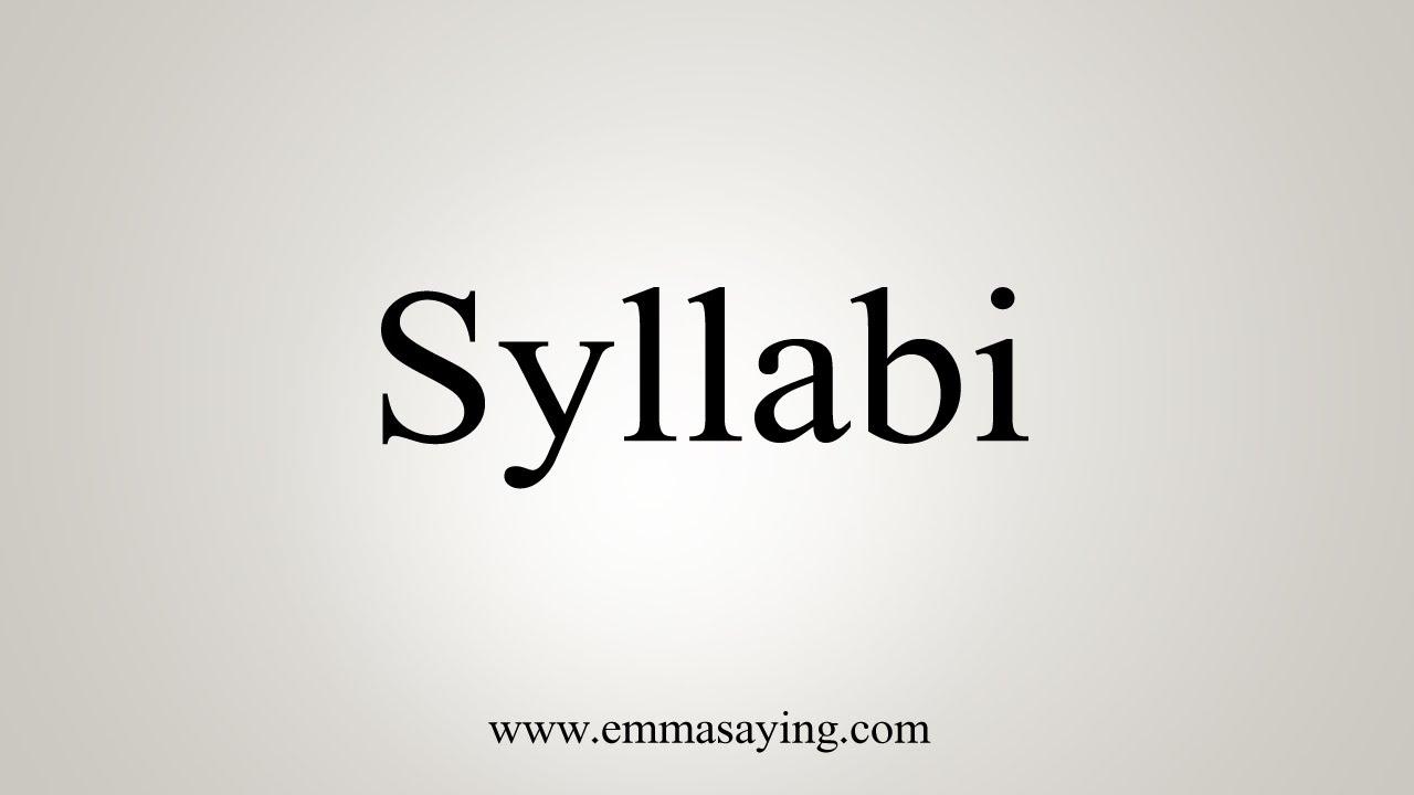 How To Say Syllabi