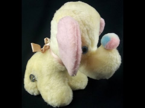 VTG Eden Yellow Pink Elephant Plush You Are My Sunshine Wind Up Musical Toy