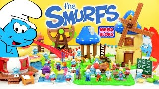 The Smurfs Village w/ Smurfette Baker Smurf Brainy Handy Hefty & Grandpa Smurf Mega Bloks thumbnail