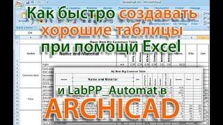 Как создавать хорошие таблицы в ARCHICAD при помощи Excel и LabPP Automat
