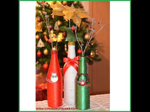 Botellas decoradas para navidad youtube for Botellas de vidrio decoradas para navidad