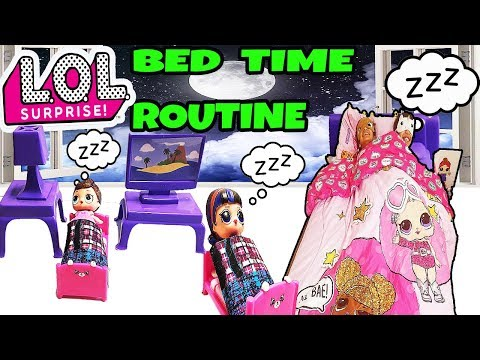 L.O.L SURPRISE DOLLS Bed Time/Night Routine! Lol  Dolls Sleepover /Slumber Party pretend to play.