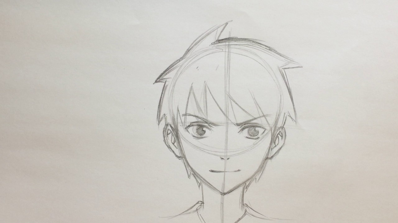 How to draw anime boy face no timelapse