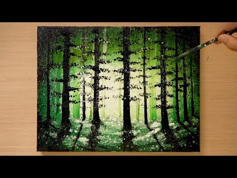 How to draw a deep forest | Stainless steel and aluminum painting technique