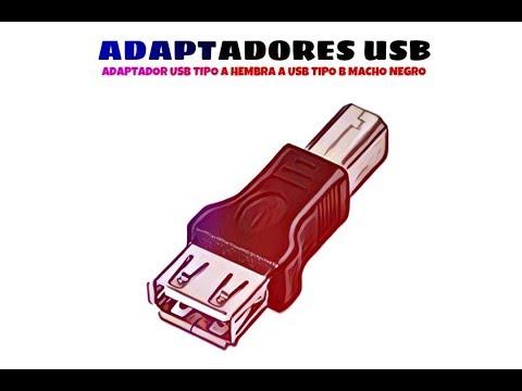 Video de Adaptador USB Tipo A Hembra a USB Tipo B Macho  Negro