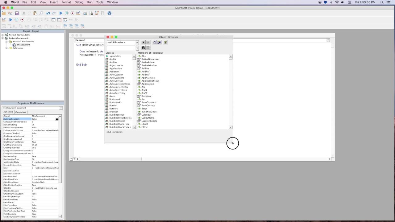 Office for Mac - Visual Basics IDE demo (Office Insiders)